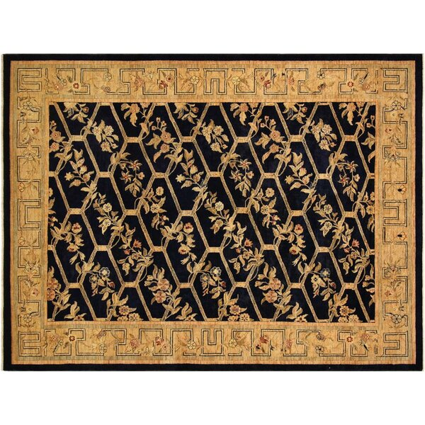 Xenos Hand-Knotted Wool Blue/Gold Area Rug by Astoria Grand