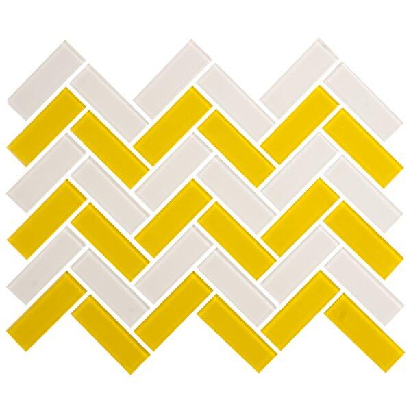 Signature Line Herringbone 1 x 3 Glass Subway Tile in Gray/Yellow by Susan Jablon