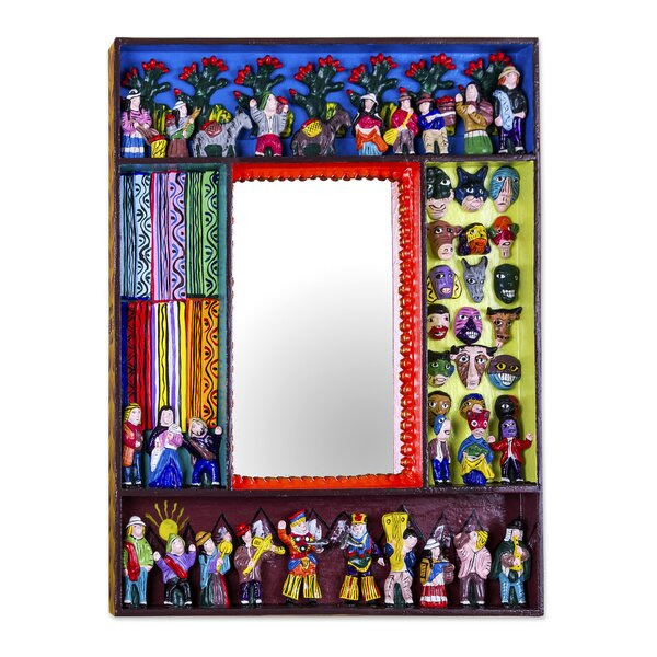 Folk Art Wood with Scenes Wall Mirror by Novica