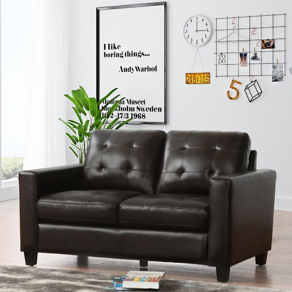 For The Latest In Dion Genuine Leather Loveseat by 17 Stories by 17 Stories