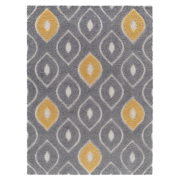 Darwin Platinum Shag Gray/Yellow Area Rug by Corrigan Studio