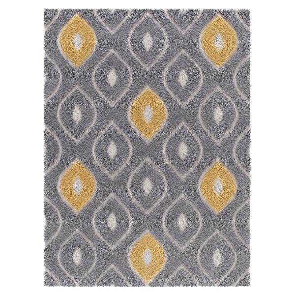 Darwin Platinum Shag Gray/Yellow Area Rug by Corri