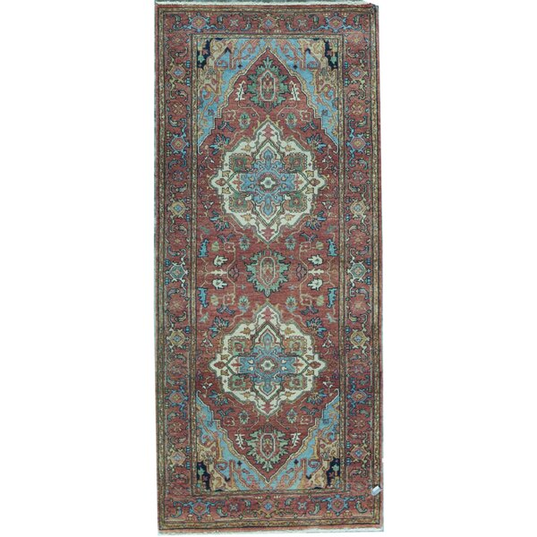 Runner Oriental Hand-Knotted Red Area Rug