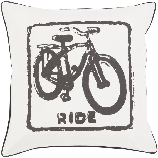 Andrea Bike Ride Cotton Throw Pillow by Trent Austin Design