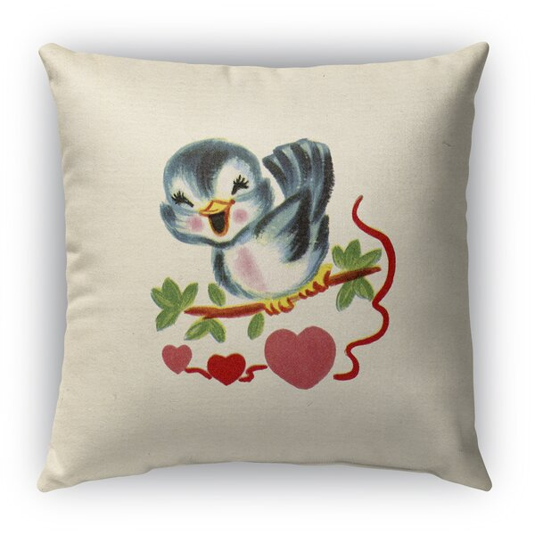 Tweet Heart Burlap Indoor/Outdoor Throw Pillow by KAVKA DESIGNS