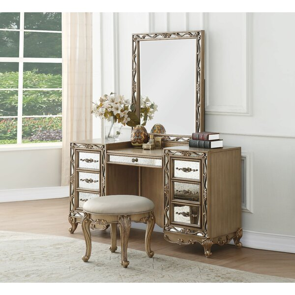Dedman 7 Drawer Double Dresser with Mirror by Rosdorf Park