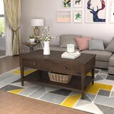 Tecca Solid Wood Lift Top Extendable Floor Shelf Coffee Table with Storage by Rosalind Wheeler