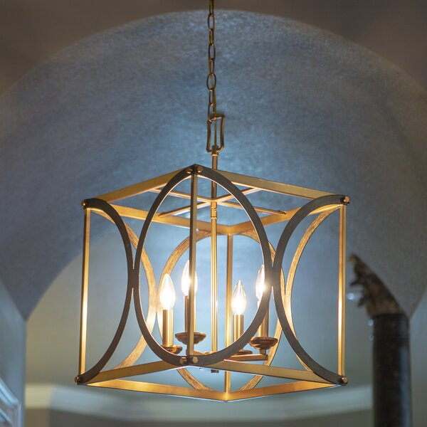 Senaida 4-Light Candle Style Rectangle / Square Chandelier by Wrought Studio Wrought Studio