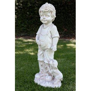 Boy With Puppy On Leash Garden Statue