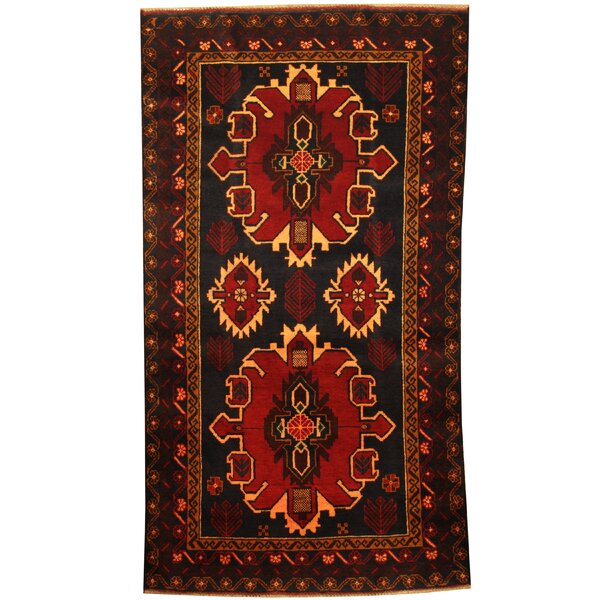 Prentice Tribal Balouchi Hand-Knotted Navy/Red Area Rug by Isabelline