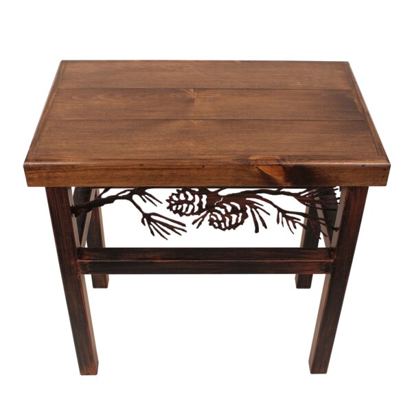 Ann Pine Cone End Table by Millwood Pines