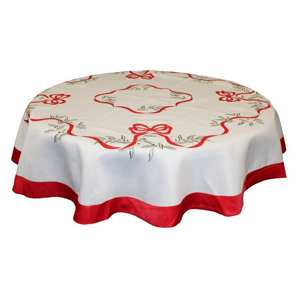Embroidered Leaves and Bows Tablecloth by Violet L