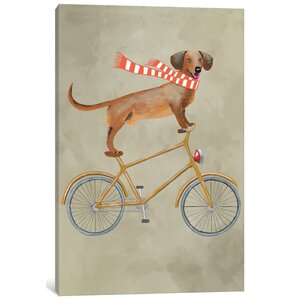 'Dachshund on Bicycle II' Painting Print on Canvas by East Urban Home