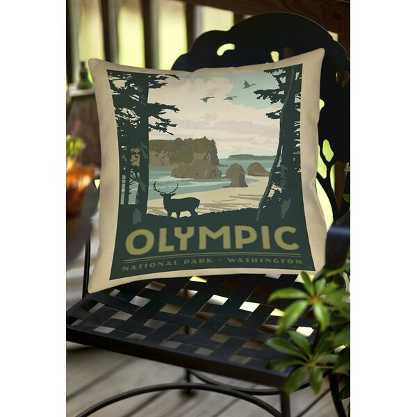 Olympic Indoor/Outdoor Throw Pillow by Manual Woodworkers & Weavers