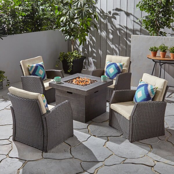 Havana 5 Piece Rattan Multiple Chairs Seating Group with Cushions by Gracie Oaks