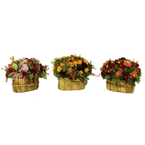 Assorted Floral 3 Piece Centerpiece in Basket Set by August Grove