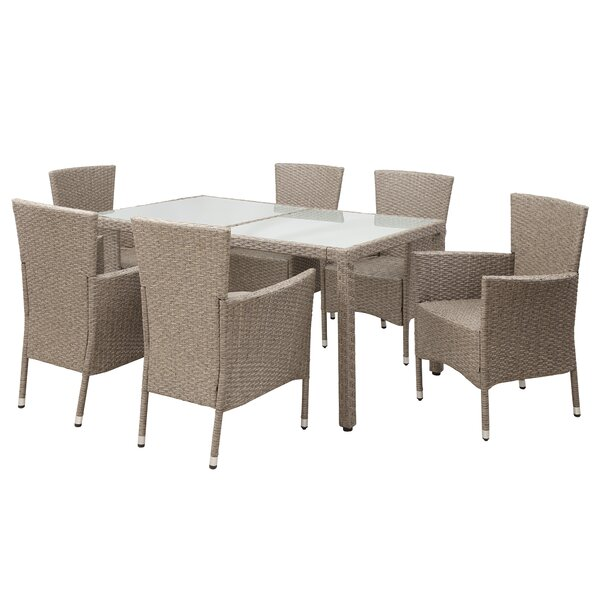 Ducote Patio 7 Piece Rattan Dining Set by Highland Dunes