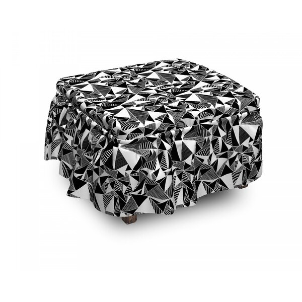 Fractal Geometry Tiles Ottoman Slipcover (Set Of 2) By East Urban Home