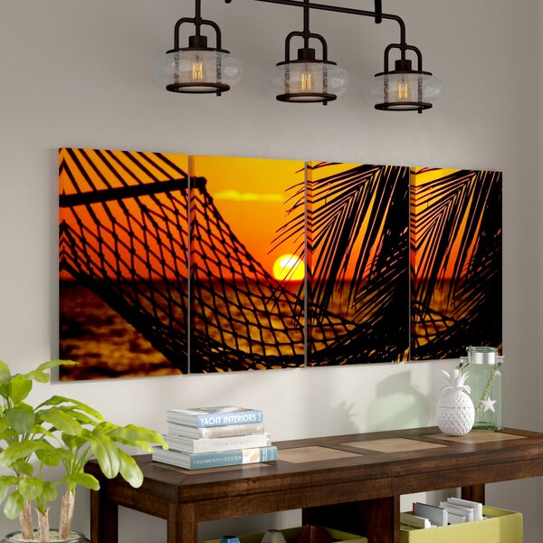 Sunset on the Beach Stretched Digital Photographic Print Multi-Piece Image on Wrapped Canvas by Bay Isle Home