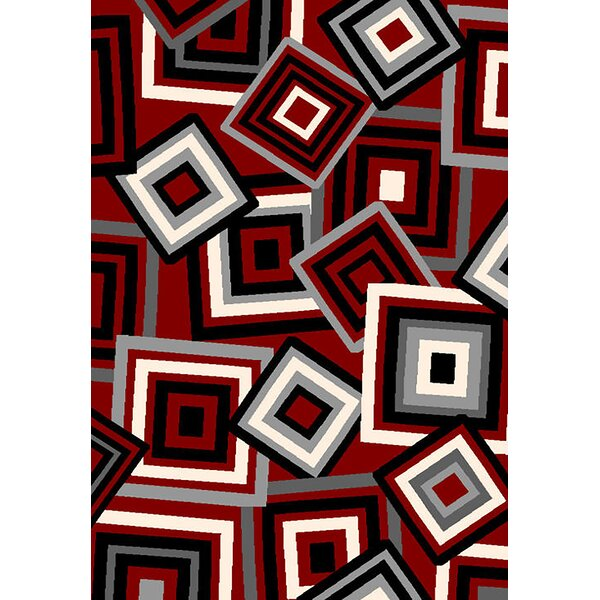 Bella Modern Contemporary Red Area Rug by Planet Rugs