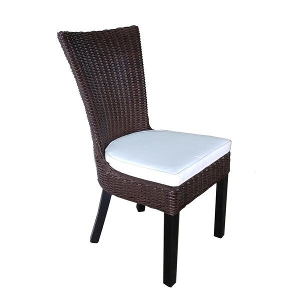 Rachita Teak Patio Dining Chair with Cushion (Set of 2) by Bayou Breeze