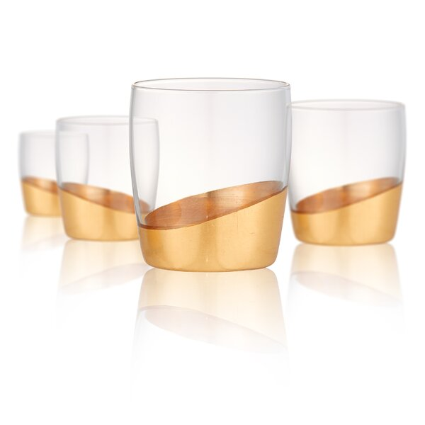 Canterbury Double Old Fashioned 13 oz. Glass Cocktail Glasses (Set of 4) by Greyleigh