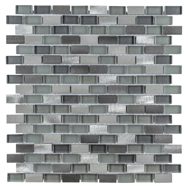 Commix Brushed 0.5 x 1.875 Aluminum/Glass Mosaic Tile in Sonoma by EliteTile