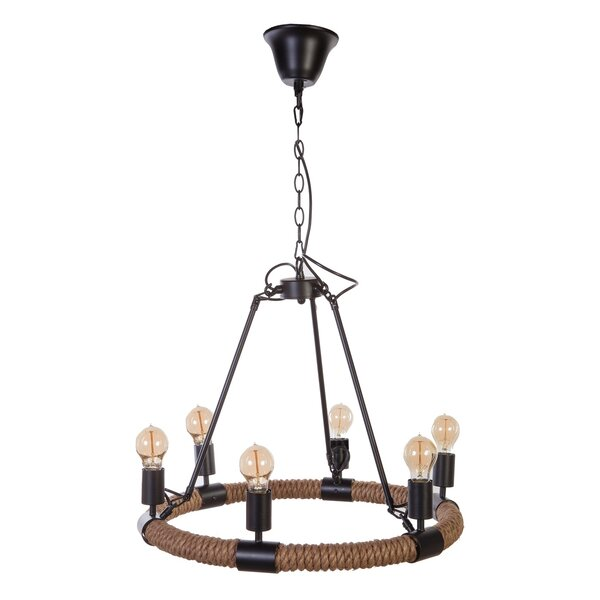 6 - Light Unique / Statement Wagon Wheel Chandelier With Rope Accents By DCOR Design