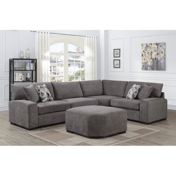 Mickens Soft Microfiber Symmetrical Sectional With Ottoman By Brayden Studio