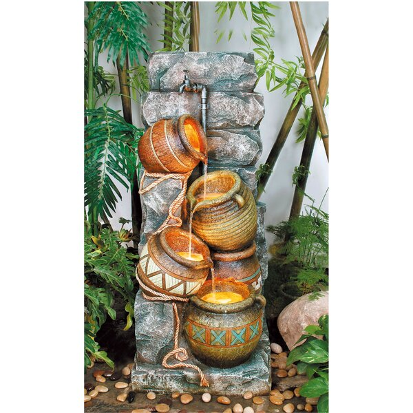Resin Southern Pots Fountain with LED Light by OK Lighting