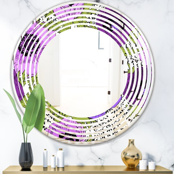 Wave Fantasy Flowers Cottage Americana Frameless Wall Mirror