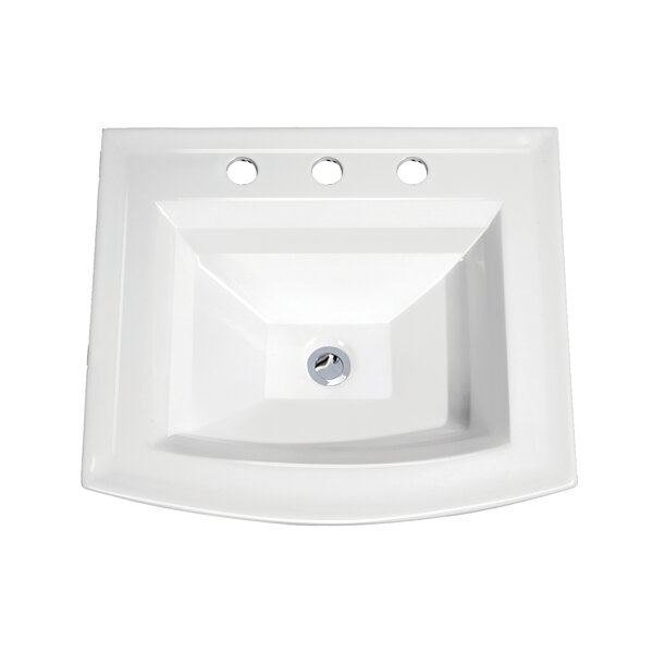 Top Mount Vitreous Porcelain Rectangular Drop-In Bathroom Sink with Overflow by Soleil
