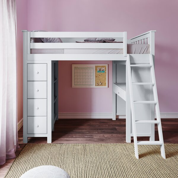 Ayres Twin Loft Bed With Drawers And Shelves By Harriet Bee by Harriet Bee Modern