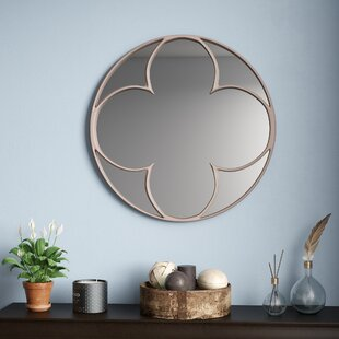 Alcott Hill Steed Round Quatrefoil Accent Mirror