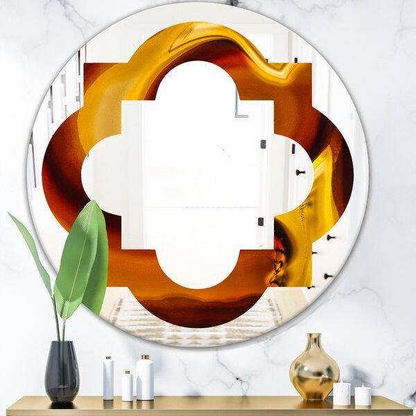 Quatrefoil Agate Geode Slice Macro Eclectic Frameless Wall Mirror