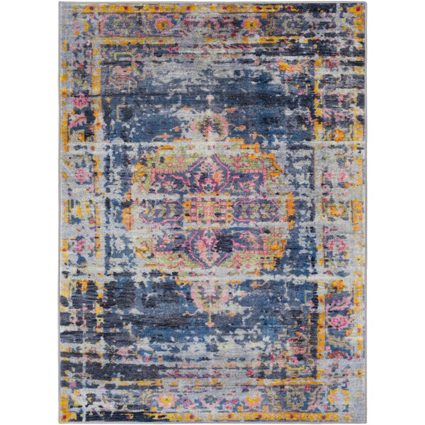 Wyclif Traditional Overdyed Bright Blue/Medium Gray Area Rug by Bungalow Rose