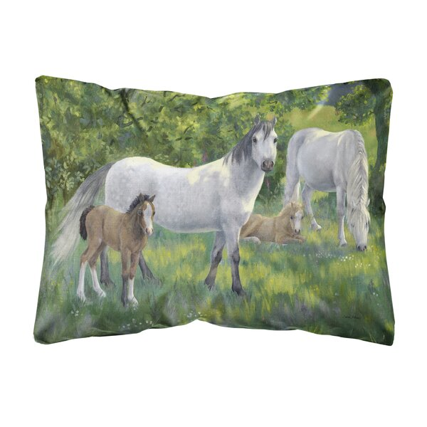 Ruley Group of Horses Fabric Indoor/Outdoor Throw Pillow by Winston Porter