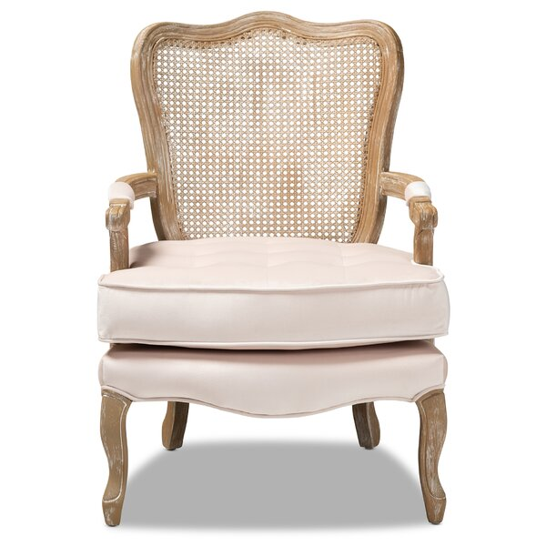 Briony Traditional French Provincial Velvet Fabric Upholstered Armchair by One Allium Way One Allium Way