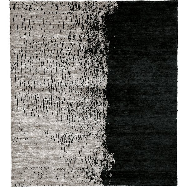 One-of-a-Kind Nahlia Hand-Knotted Traditional Style Black/Gray 6' x 9' Area Rug