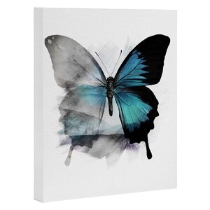 The Blue Butterfly Painting Print on Canvas by East Urban Home