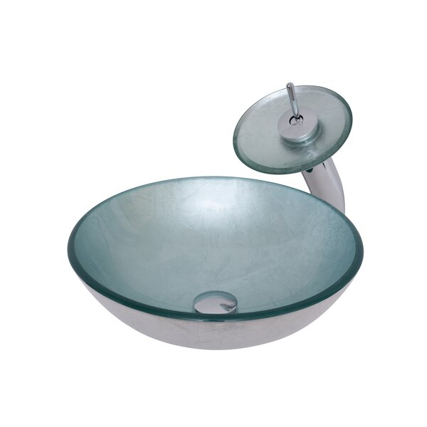 Argento Glass Circular Vessel Bathroom Sink with Faucet by Novatto