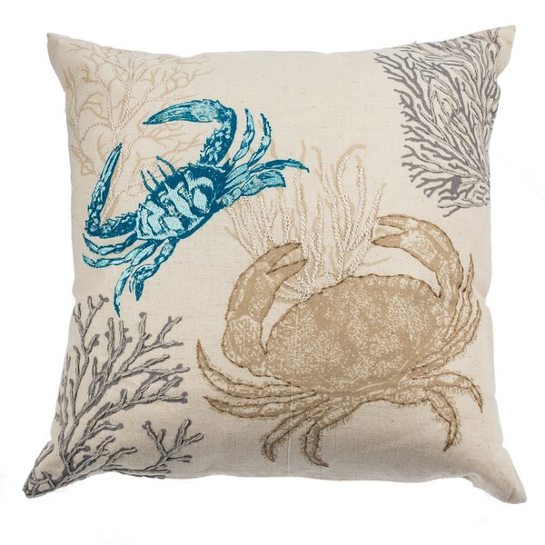 Cowley Embroidered Crab Cotton Throw Pillow by Highland Dunes