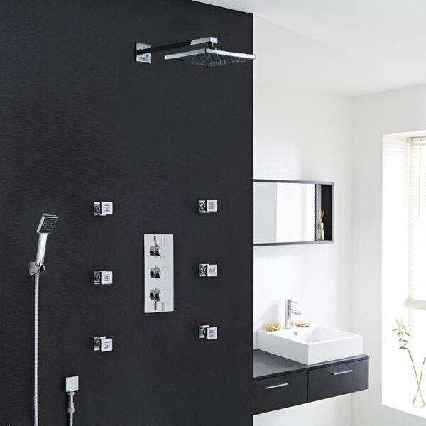 Milan Stainless Steel Jetted Body Massage LED Thermostatic Complete Shower System with Rough-in Valve by FontanaShowers FontanaShowers