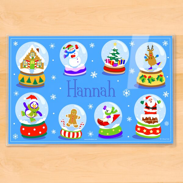 Winter Snow Globes Personalized Placemat by Olive Kids