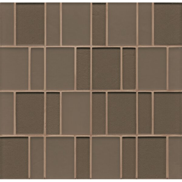 Remy Glass Mosaic Brick Tile in Taupe by Grayson Martin