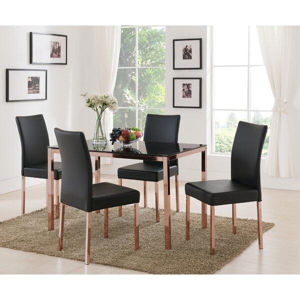 Heiden Metal Frame Glass Dining Table by Mercer41