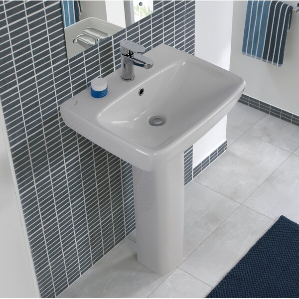 Energy Ceramic 22 Pedestal Bathroom Sink with Overflow by Bissonnet