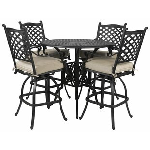 Colstrope 5 Piece Sunbrella Bar Height Dining Set with Cushions By Fleur De Lis Living
