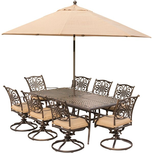 Lauritsen 9 Piece Oil Rubbed Bronze Dining Set with Cushions by Three Posts