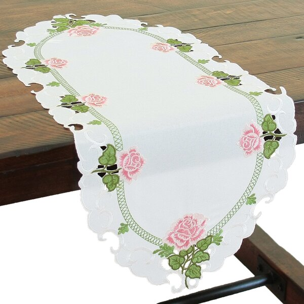 Summer Rose Embroidered Cutwork Mini Table Runner by Xia Home Fashions